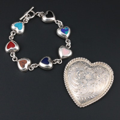 Sterling Silver Heart Motif Bracelet and Brooch With Turquoise and Jasper