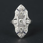 Vintage 10K and 18K White Gold Diamond and Sapphire Ring