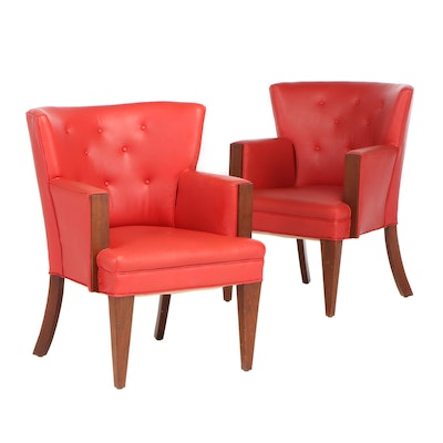 Button Tufted Arm Chairs, Contemporary