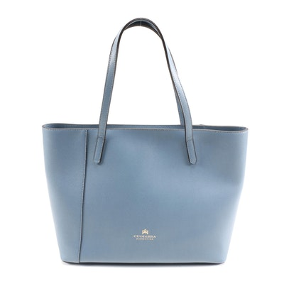 Cuoieria Fiorentina Blue Palmellated Calfskin Leather Tote Bag