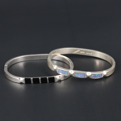 Mexican Sterling Silver Glass Hinged Bracelet