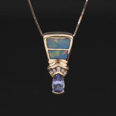 14K Yellow Gold Tanzanite, Diamond and Opal Pendant Necklace