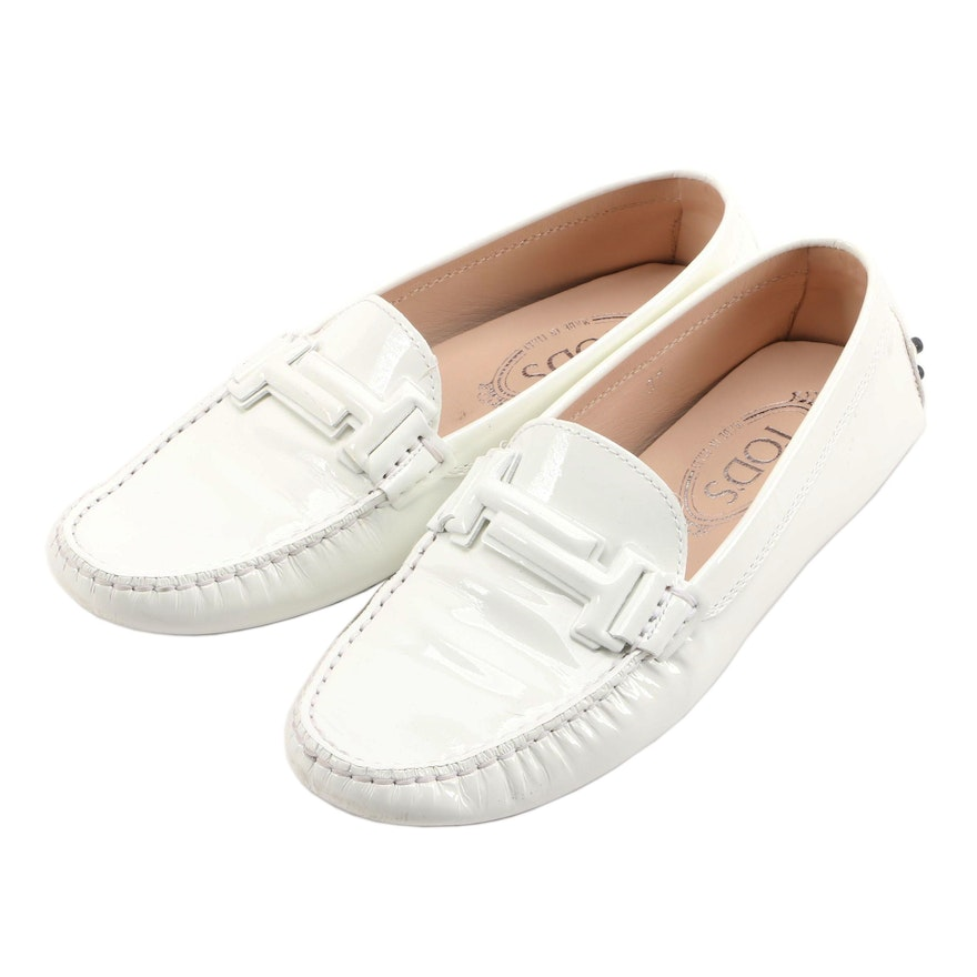 Tod's White Patent Leather Driving Shoes
