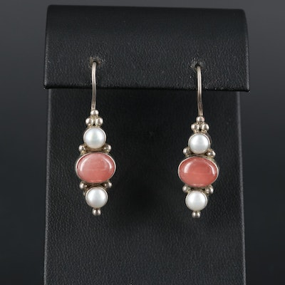 Janice Girardi Sterling Silver Rhodochrosite and Cultured Pearl Earrings