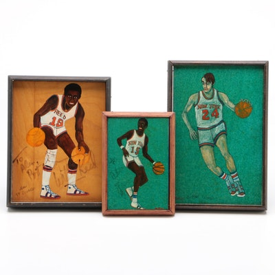 New York Knicks Players Acrylic Paintings, One is Signed