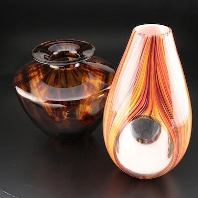 Italian Tortoiseshell Art Glass Vase with Other Cased Art Glass Vase