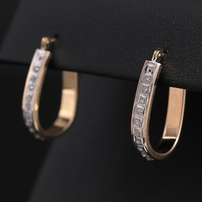 14K Yellow Gold Hoop Earrings with Glittered Resin