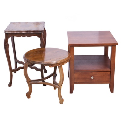Oak , Mahogany and Cherry Wood Side Tables, Mid to Late 20th Century