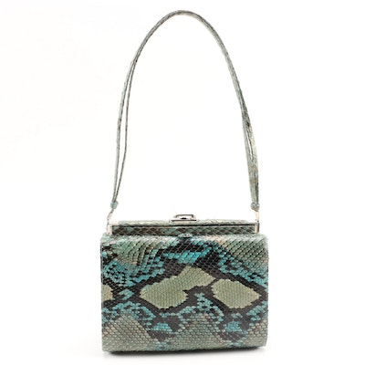 Judith Leiber Green and Teal Python Skin Frame Shoulder Bag