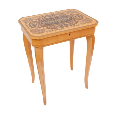 "Reuge ""Torna a Surriento"" Marquetry Jewelry Box Side Table, Mid to Late 20th C."