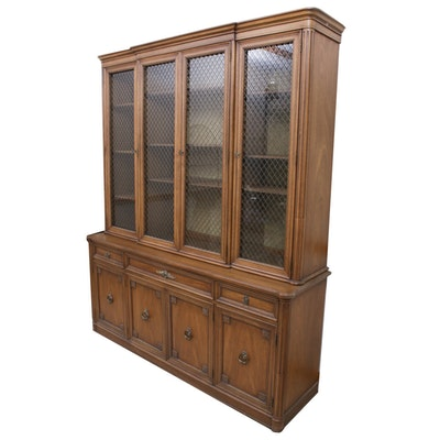 Henredon Walnut Inlay China Cabinet, Mid-20th Century