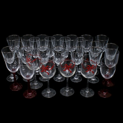 Crystal Stemware with Holiday Wine Glasses