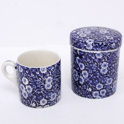 "Crownford Staffordshire ""Calico Blue"" Ironstone Mug and Storage Jar"