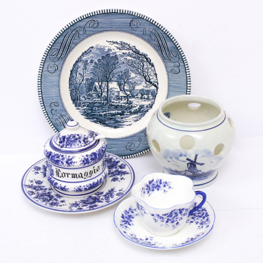 Delft Hand-Painted Pottery with Blue and White Ceramics