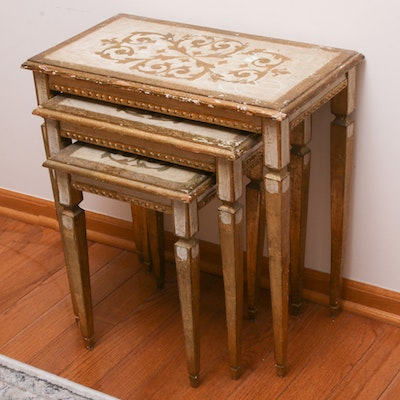 Italian Made Gilt Decorative Nesting Tables