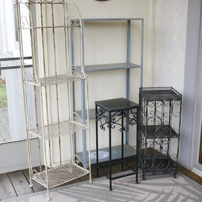 Marble Top Plant Stand with Metal Shelving Unit and Iron Votive Wall Hanging