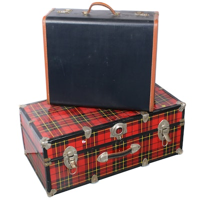 Red Tartan Plaid Travel Trunk with Leather Trim Suitcase, Vintage