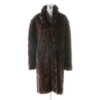 Dyed Brown Sheared Rabbit Fur Coat