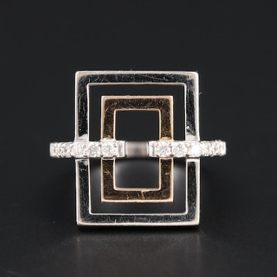 18K White and Rose Gold Diamond Rectangular Ring