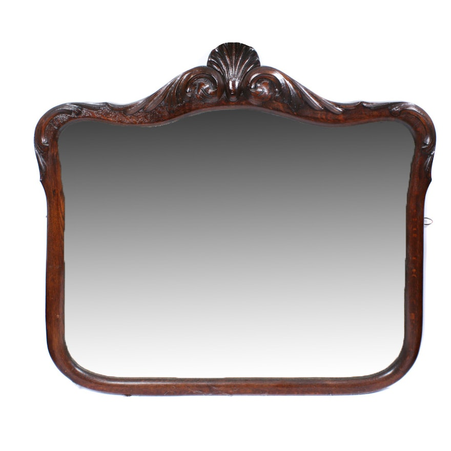 Victorian Style, Hand Carved Wooden Wall Mirror, Early 20th Century