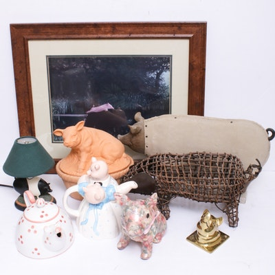 Music Box Company Floral Pig, Fitz and Floyd Pig Teapot and Other Home Décor