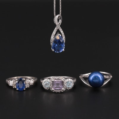 Sterling Rings and Necklace With Topaz, Diamond, Sapphire and Cultured Pearl