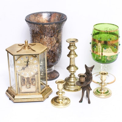 Brass Anniversary Clock with Candlesticks and Decorative Urn