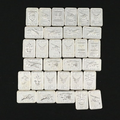Thirty-One Military Themed Silver Ingots