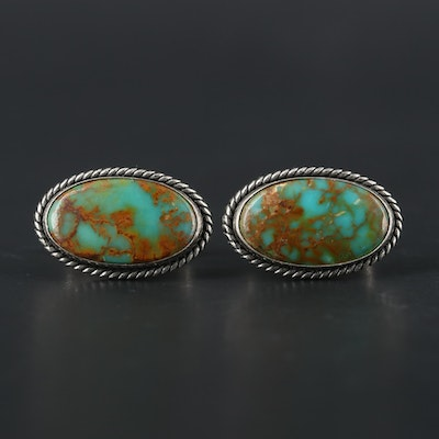 Southwestern Style Sterling Silver Turquoise Cufflinks