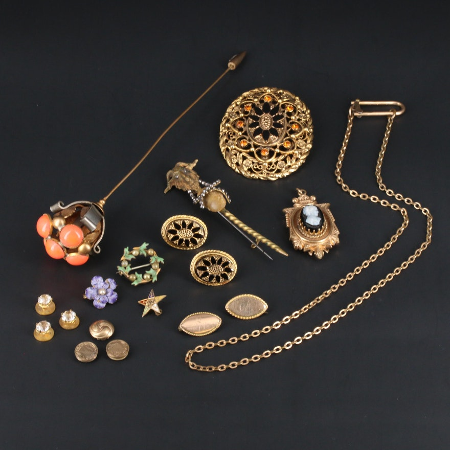 Vintage and Antique Jewelry Including Ram's Head Pin and Cameo Pendant