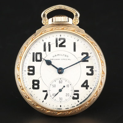 10K Gold Filled Hamilton Railway Special Pocket Watch, Circa 1948
