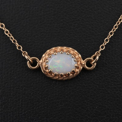 10K Yellow Gold Opal Pendant with 14K Gold Chain Necklace
