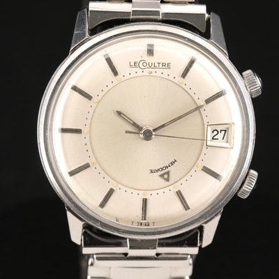 Vintage LeCoultre Memodate Stainless Steel Stem Wind Wristwatch
