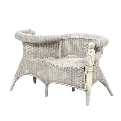Woven Wicker Courting Bench