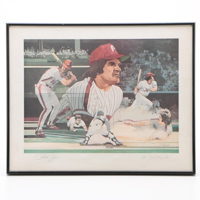 """Pete Rose and Artist Signed """"Hustle and Pride - 3631"""" Limited Print"""
