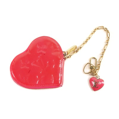 Louis Vuitton Heart Coin Purse with Key Charm in Monogram Vernis Leather