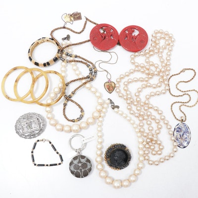 Bakelite Bracelets, Miriam Haskell Brooch, Coach Key Chain and More Jewelry