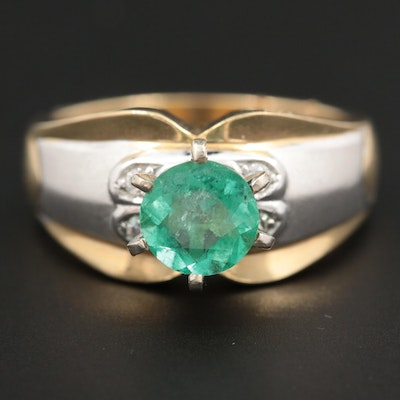 14K Yellow Gold 1.00 CT Emerald and Cubic Zirconia Ring with White Gold Accent