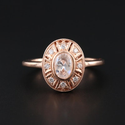 14K Rose Gold Diamond Semi-Mount Ring with Cubic Zirconia Center
