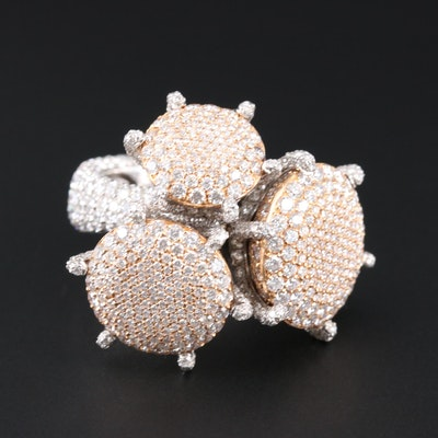 Palmiero 18K White and Rose Gold 15.44 CTW Diamond Ring