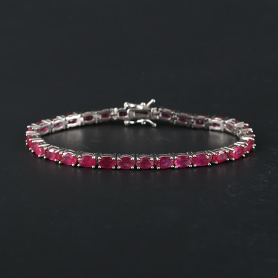 Sterling Silver Ruby Line Bracelet
