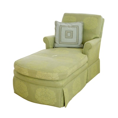 Custom-Upholstered Chaise Lounge Chair, Contemporary