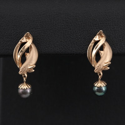 14K Yellow Gold Pearl Drop Earrings with Dolphin Motif