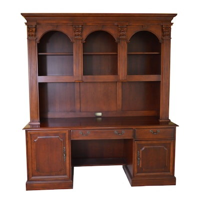 Hooker Mahogany Computer Desk with Bookcase Hutch, Contemporary