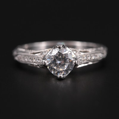 14K White Gold Diamond Semi-Mount Ring with Cubic Zirconia Center
