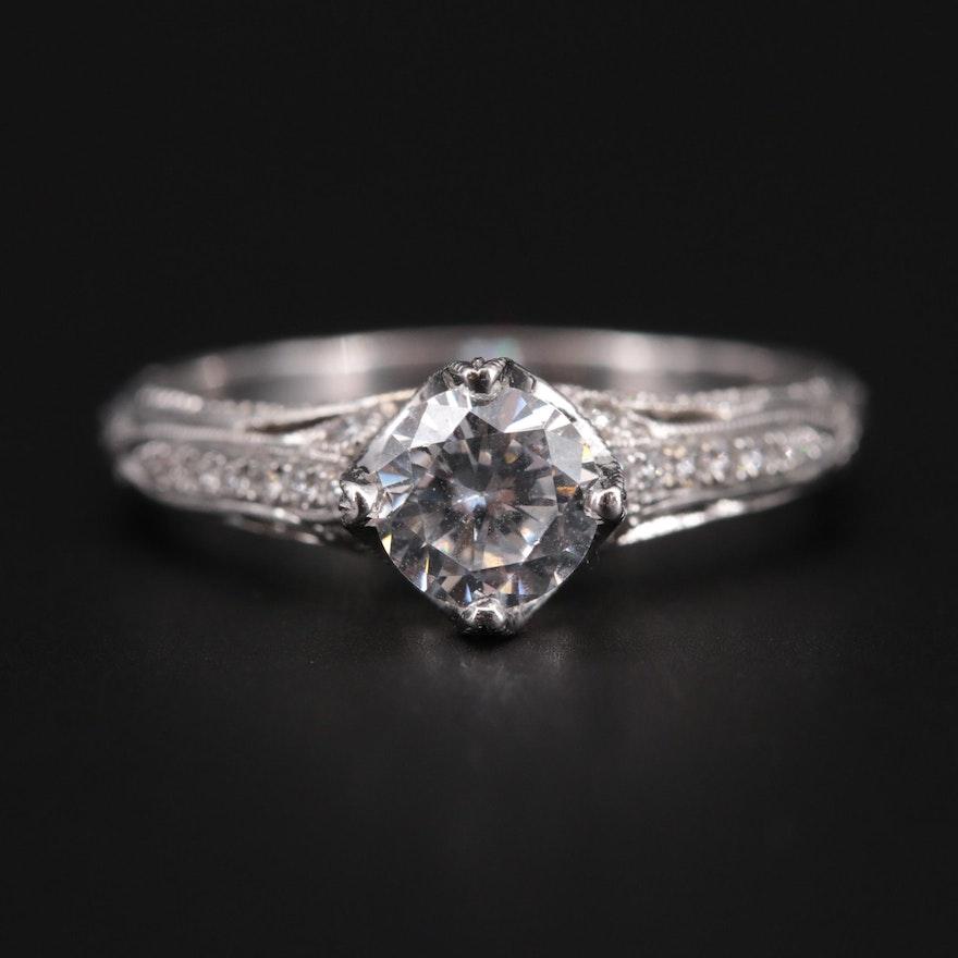 14K White Gold Diamond Semi-Mount Ring with Cubic Zirconia Center