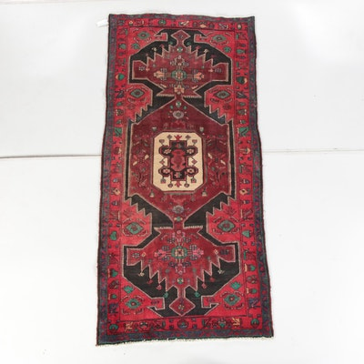 3'11 x 8'11 Hand-Knotted Persian Hamadan Wool Area Rug