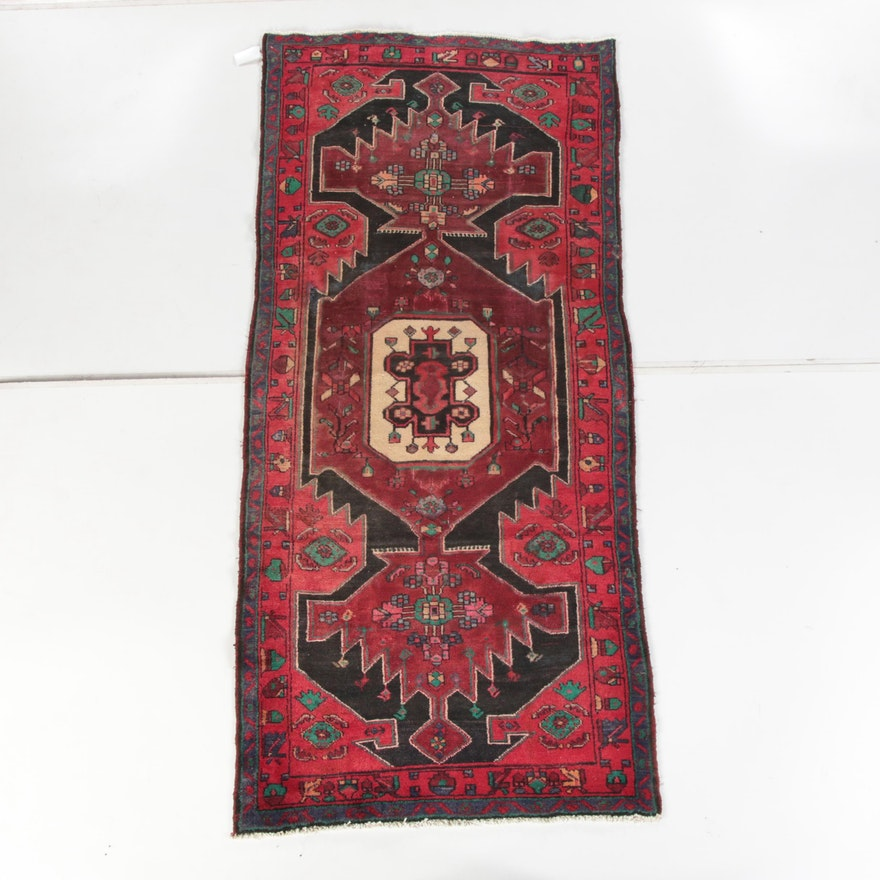 3'11 x 8'11 Hand-Knotted Persian Hamadan Wool Area Rug