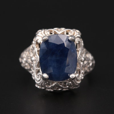 Sterling Silver Sapphire Openwork Ring