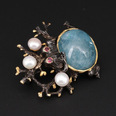 Sterling Silver Aquamarine Frog Motif Brooch with Pearl and Garnet Accents